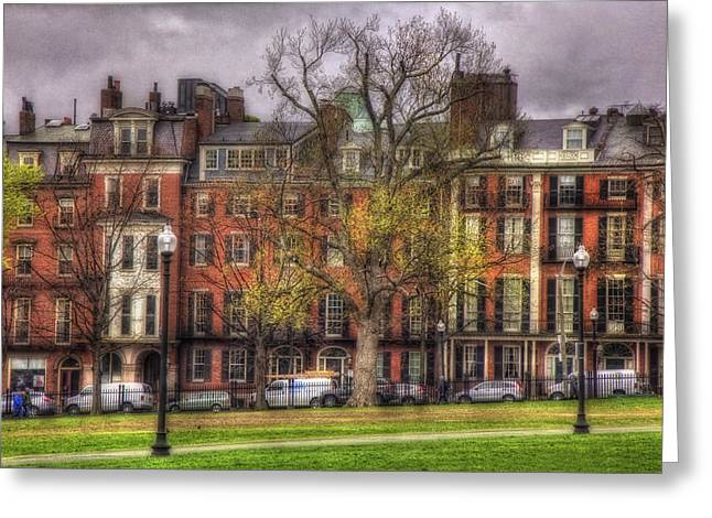 Beacon Street Brownstones - Boston Greeting Card by Joann Vitali