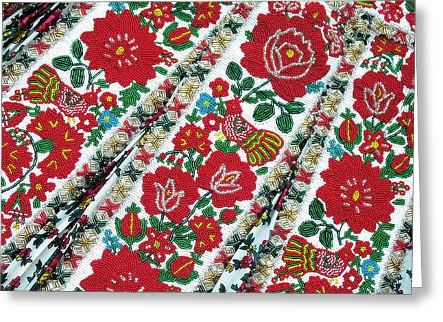 Hungarian Beaded Emboidery From Kalotaszeg Photograph Print Greeting Card by Andrea Lazar