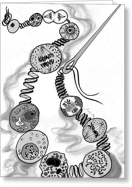 Greeting Card featuring the digital art Beads Of Life by Carol Jacobs