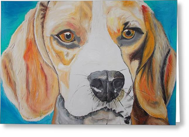 Greeting Card featuring the painting Beagle by PainterArtist FIN
