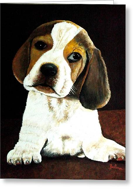 Beagle Puppy Greeting Card by Zelma Hensel