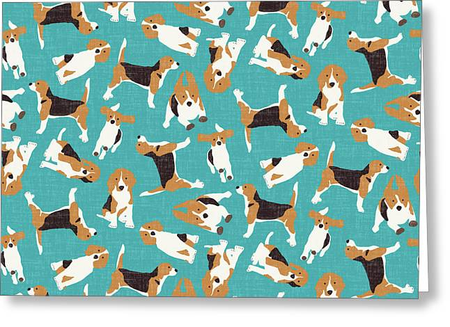 Beagle Scatter Blue Greeting Card