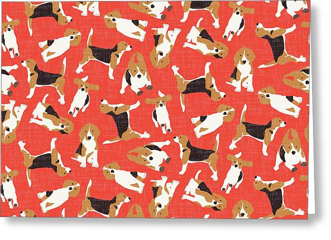 Beagle Scatter Coral Red Greeting Card by Sharon Turner