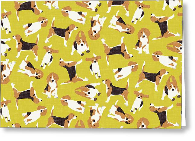 Beagle Scatter Yellow Greeting Card