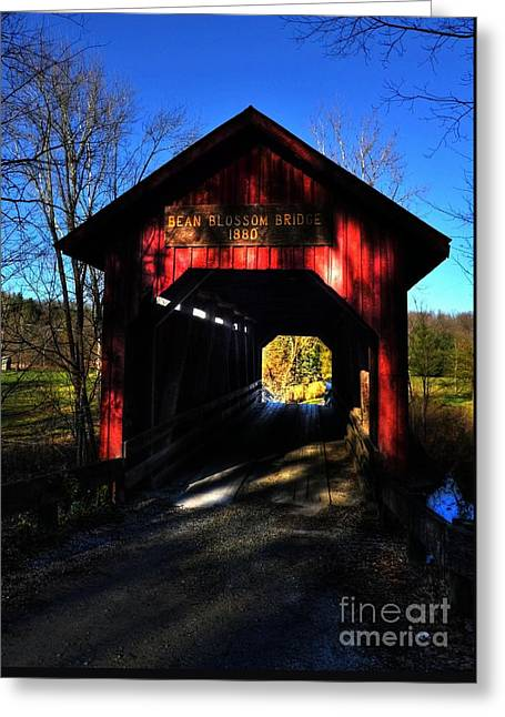 Bean Blossom Bridge 2 Greeting Card by Mel Steinhauer