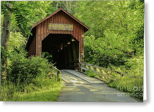 Bean Blossom Covered Bridge Greeting Card by Mary Carol Story