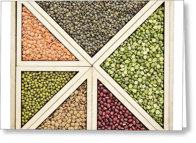 Beans And Lentils Abstract Greeting Card by Marek Uliasz