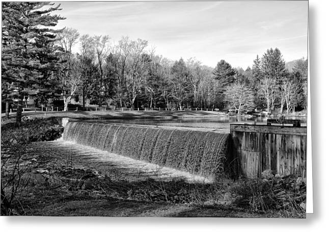 Bear Creek Lake Dam In Black And White Greeting Card by Bill Cannon