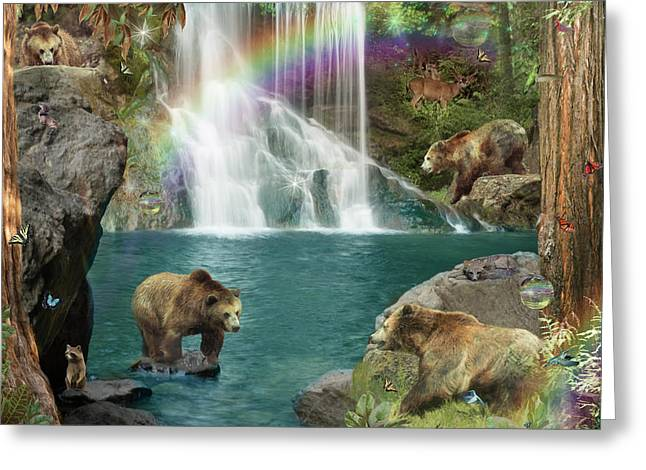 Bear Falls  Magical Variation  Greeting Card by Alixandra Mullins