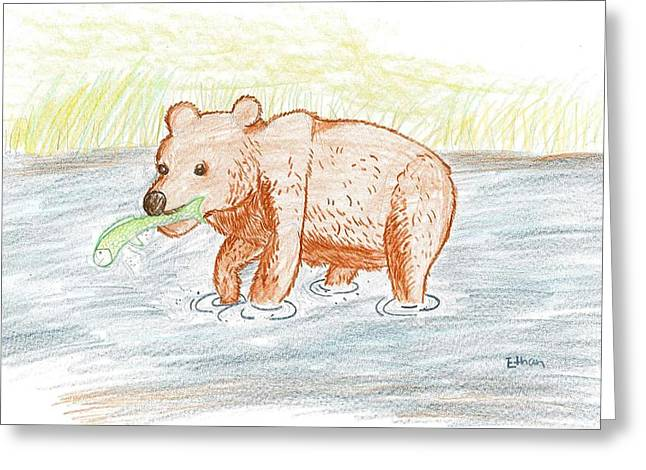 Greeting Card featuring the drawing Bear Fishing by Ethan Chaupiz