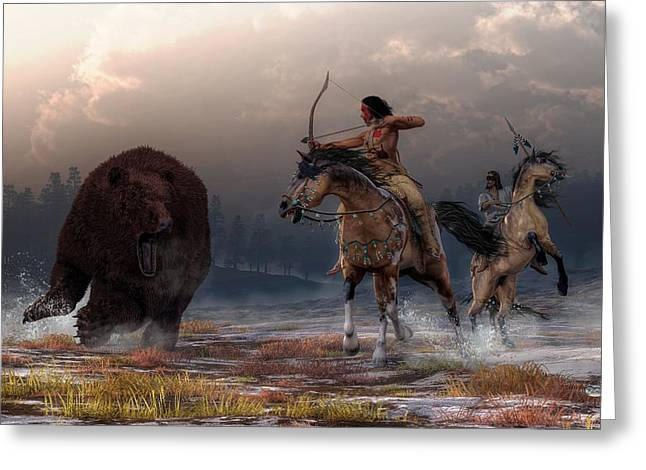 Bear Hunt Greeting Card by Daniel Eskridge