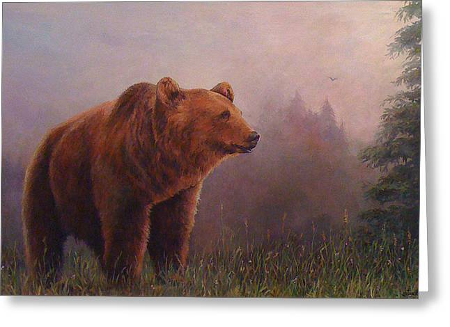 Greeting Card featuring the painting Bear In The Mist by Donna Tucker
