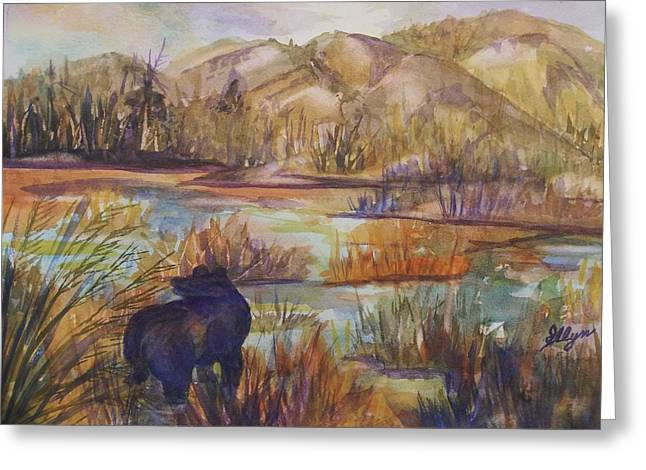 Bear In The Slough Greeting Card by Ellen Levinson