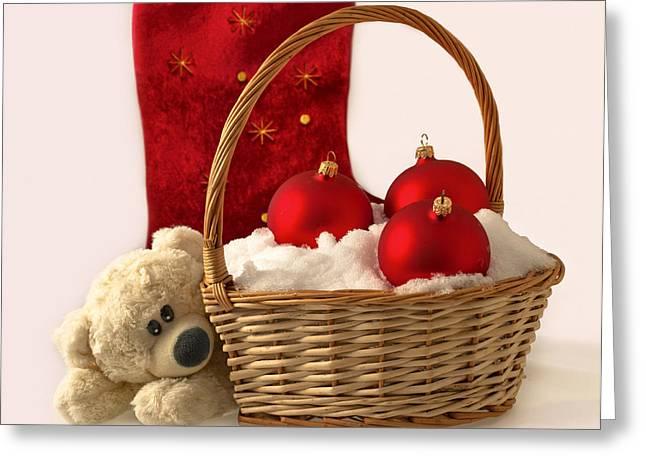 Bear Is Near Wicker With Christmas Balls  Greeting Card by Sviatlana Kandybovich