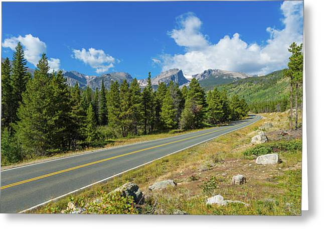 Bear Lake Road Passing Through Forest Greeting Card