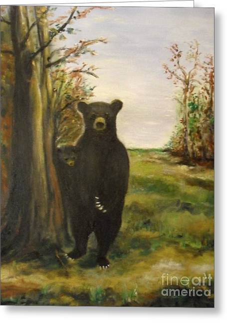 Greeting Card featuring the painting Bear Necessity by Laurie Lundquist