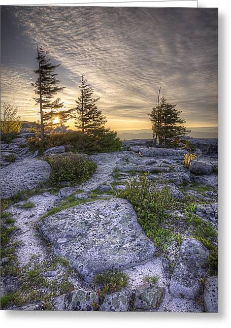 Bear Rocks Sunrise Greeting Card by Michael Donahue