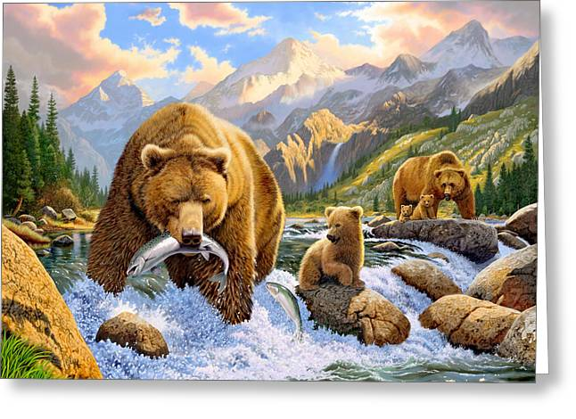 Bear Salmon Fishing Greeting Card
