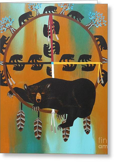 Bear Totem And Medicine Wheel Greeting Card