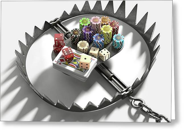 Bear Trap With Gambling Chips And Cards Greeting Card by Ktsdesign