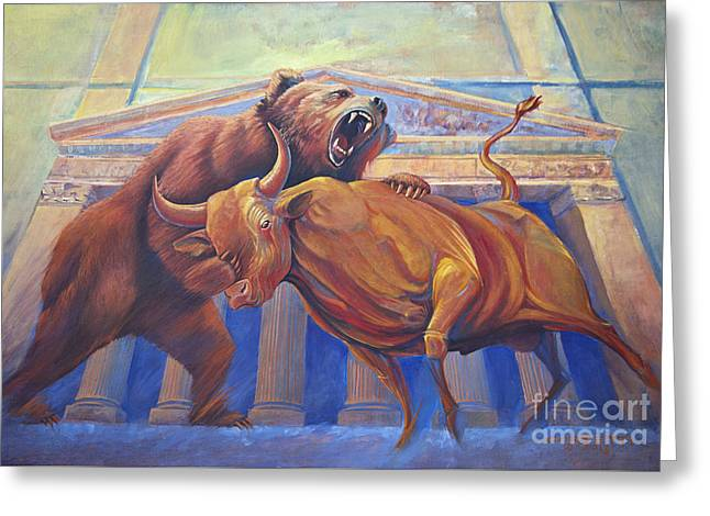 Bear Vs Bull Greeting Card