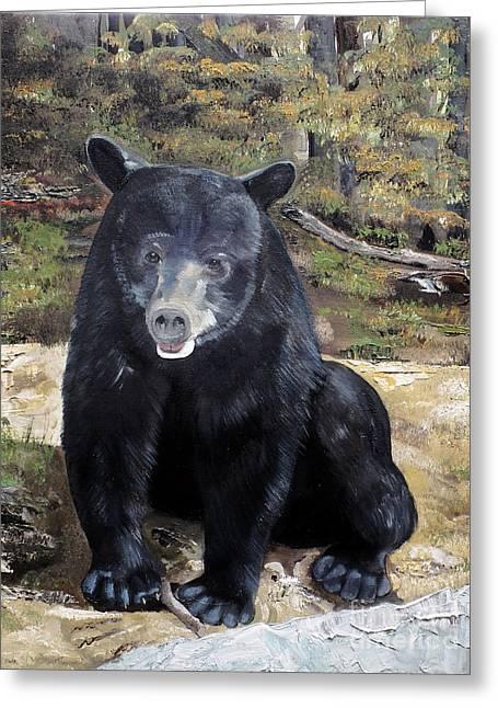 Greeting Card featuring the painting Bear - Wildlife Art - Ursus Americanus by Jan Dappen