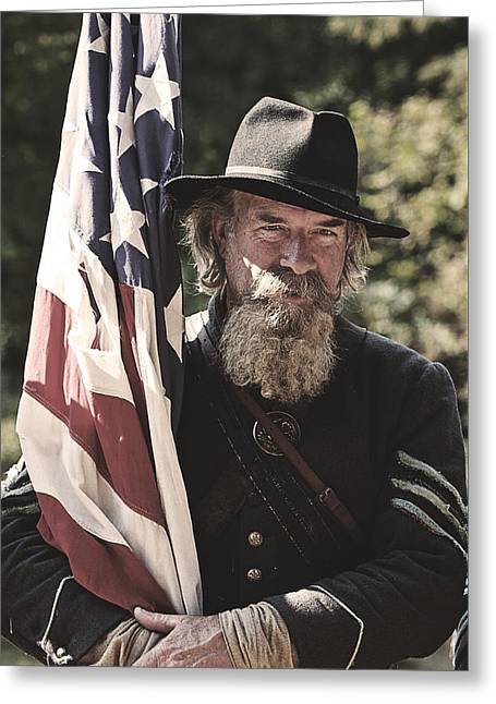 Bearing Old Glory D0256 Greeting Card by Wes and Dotty Weber