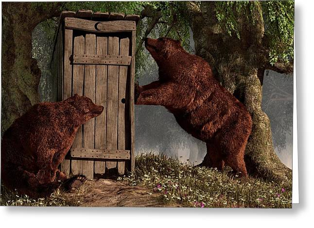 Bears Around The Outhouse Greeting Card by Daniel Eskridge