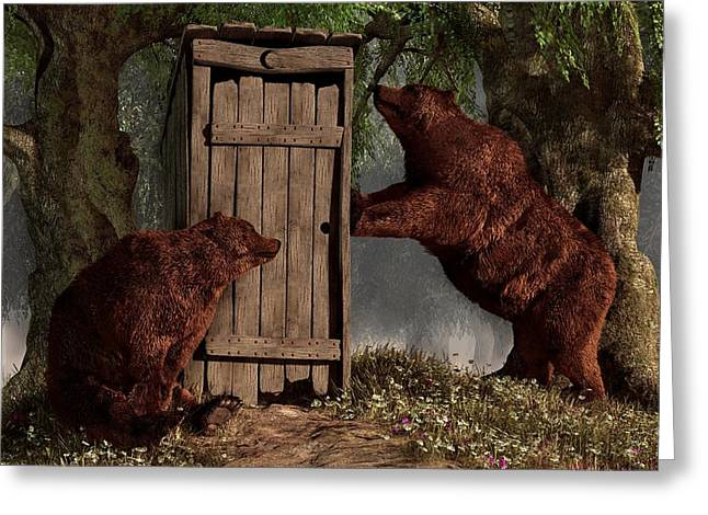 Bears Around The Outhouse Greeting Card