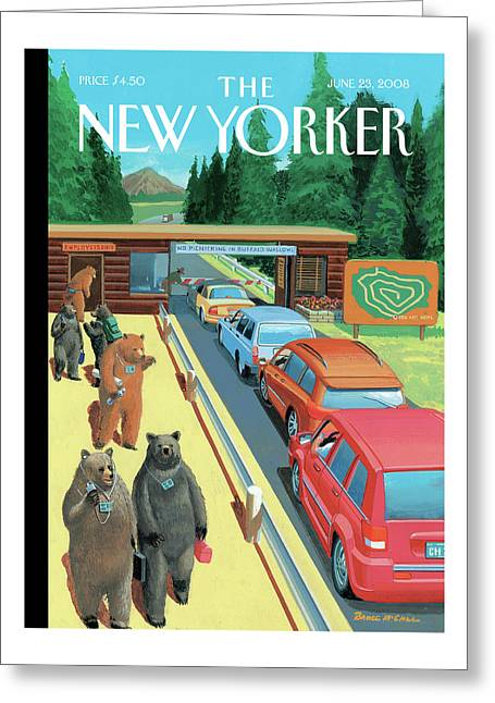 Bears Leaving Work At A National Park Greeting Card