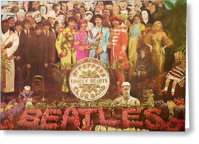 Beatles Lonely Hearts Club Band Greeting Card by Gina Dsgn