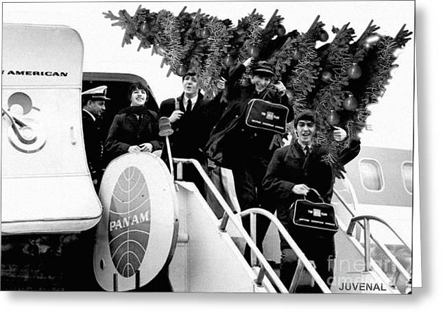 Beatles Arrive In Ny With A Christmas Tree Greeting Card by Joseph Juvenal