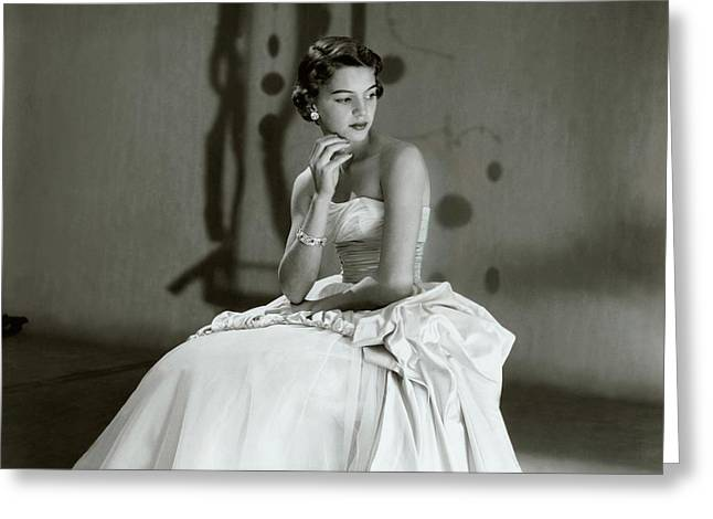 Beatrice Wagstaff Wearing A Ceil Chapman Dress Greeting Card by Horst P. Horst