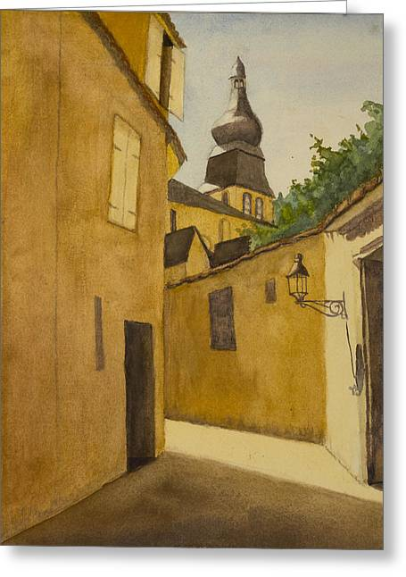 Beau Village Greeting Card by Peggy Poppe