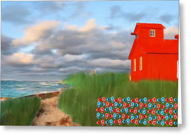 Beautification Of A Lighthouse Greeting Card by Bruce Nutting