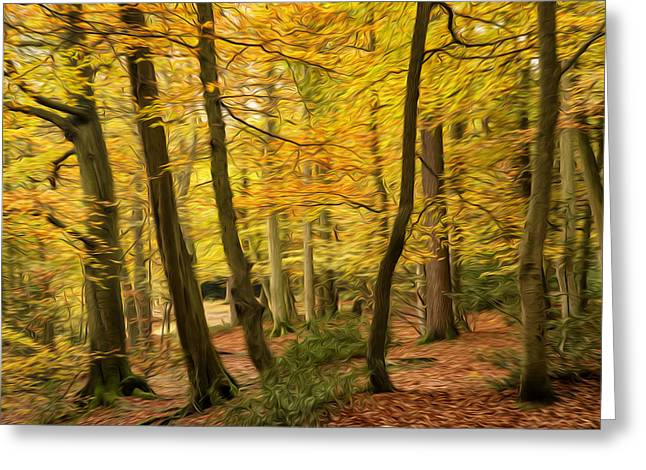 Beautiful Autumn Fall Forest Landscape Digital Painting Greeting Card by Matthew Gibson
