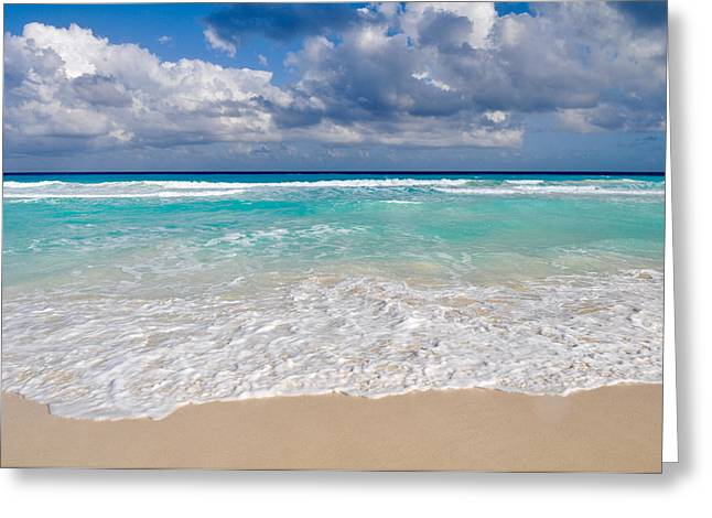 Beautiful Beach Ocean In Cancun Mexico Greeting Card