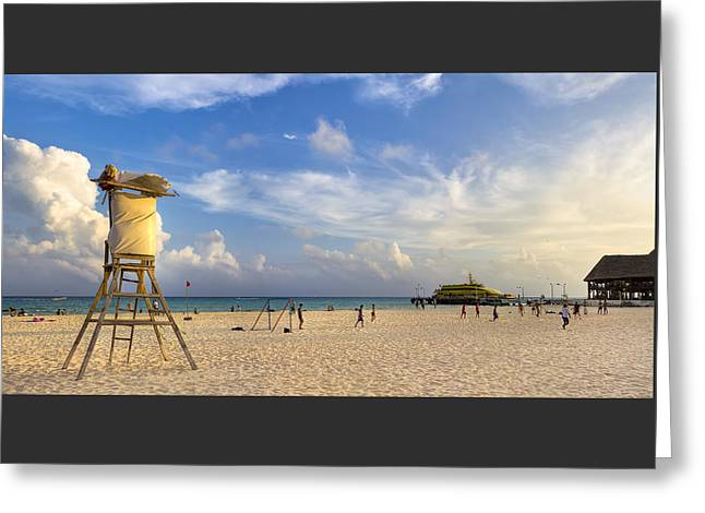 Beautiful Beach Panorama At Playa Del Carmen Greeting Card by Mark E Tisdale