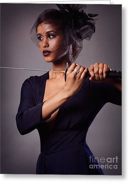 Beautiful Black Woman With A Katana Sword Greeting Card by Oleksiy Maksymenko