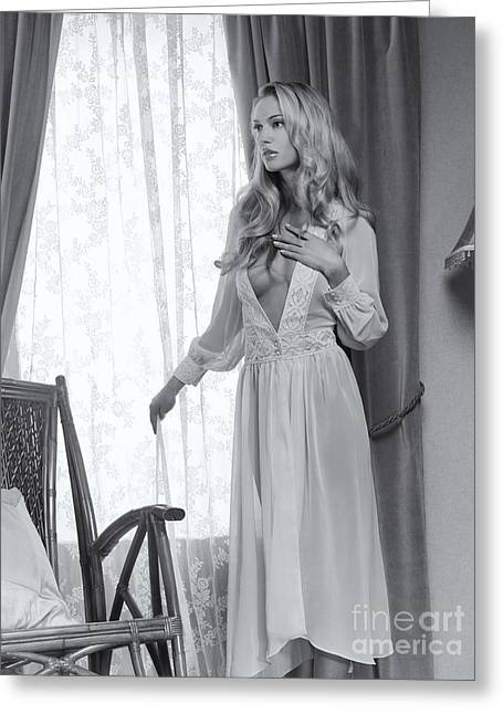 Beautiful Blond Woman In Night Gown By The Window Black And Whit Greeting Card by Oleksiy Maksymenko