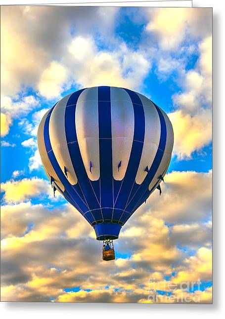 Beautiful Blue Hot Air Balloon Greeting Card by Robert Bales