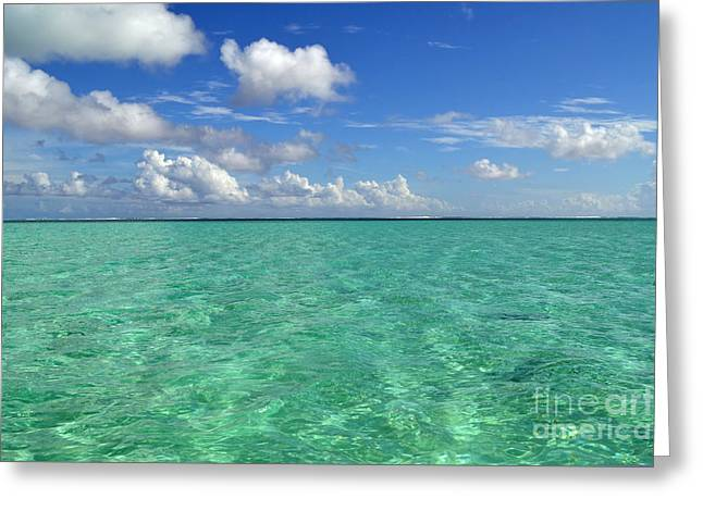 Beautiful Bora Bora Green Water And Blue Sky Greeting Card