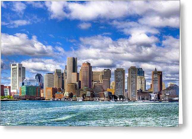Greeting Card featuring the photograph Beautiful Boston Skyline From The Harbor by Mark E Tisdale