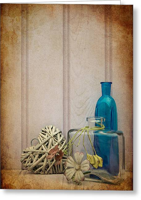 Beautiful Bottle And Vase With Heart Still Life Love Concept Greeting Card by Matthew Gibson