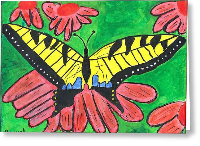 Greeting Card featuring the painting Tiger Swallowtail Butterfly by Raqul Chaupiz
