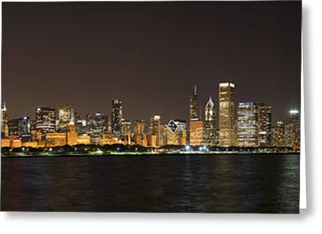 Beautiful Chicago Skyline With Fireworks Greeting Card by Adam Romanowicz
