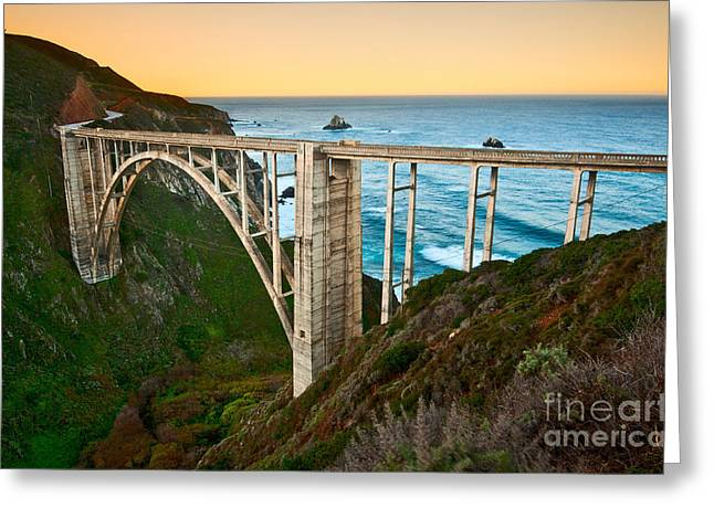 Beautiful Coastal View Of Big Sur In California In Sunrise With Bixby Bridge. Greeting Card by Jamie Pham