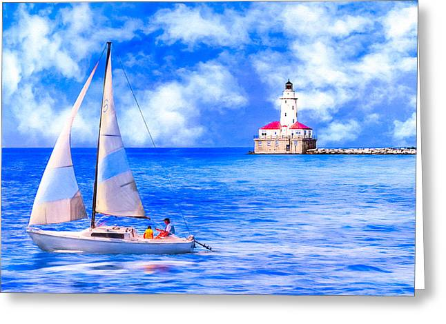 Beautiful Day For Sailing - Chicago Harbor Light Greeting Card by Mark E Tisdale