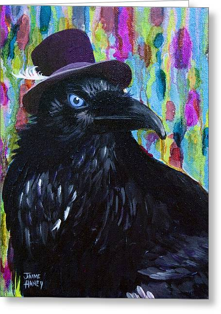 Beautiful Dreamer Black Raven Crow 8x10 Mixed Media By Jaime Haney Greeting Card