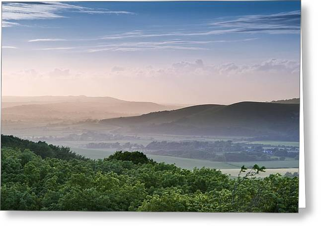 Beautiful English Countryside Landscape Over Rolling Hills Greeting Card